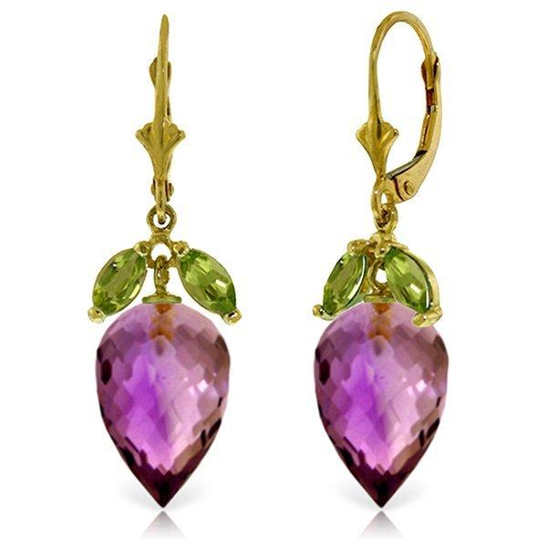 14k Yellow Gold 19.0ct Amethyst & Peridot Earrings