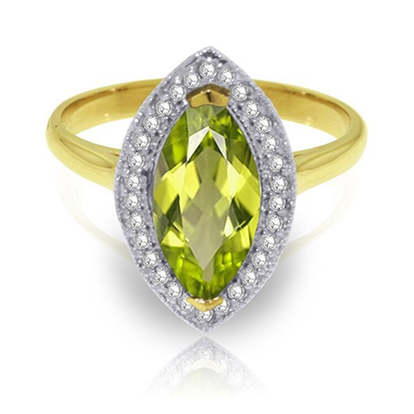 2.15ct 14k Solid  Gold Ring Diamond Marquis Peridot