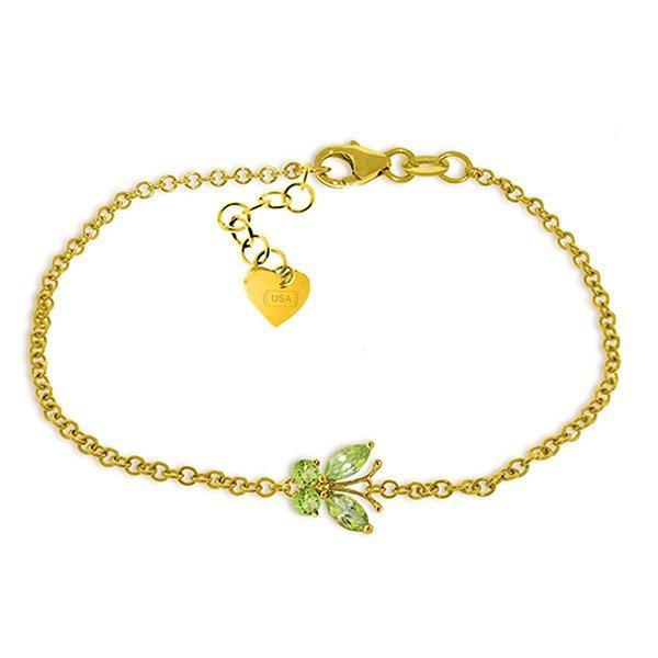 14k Yellow Gold Peridot Butterfly Bracelet