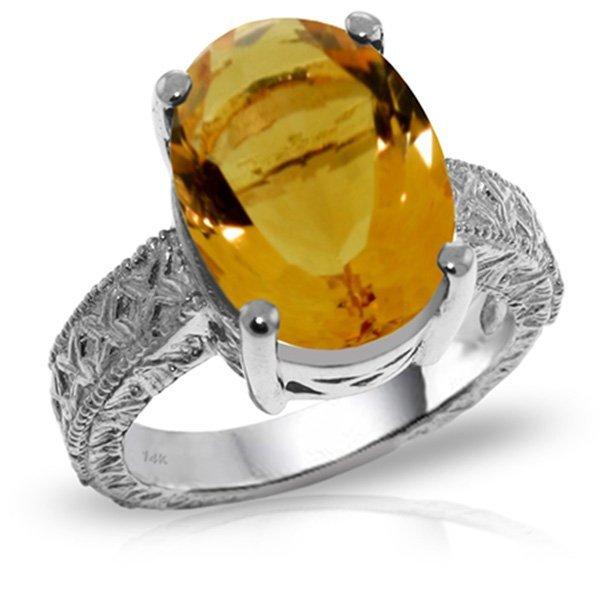 14K White Gold 6.50ct Oval Citrine Ring