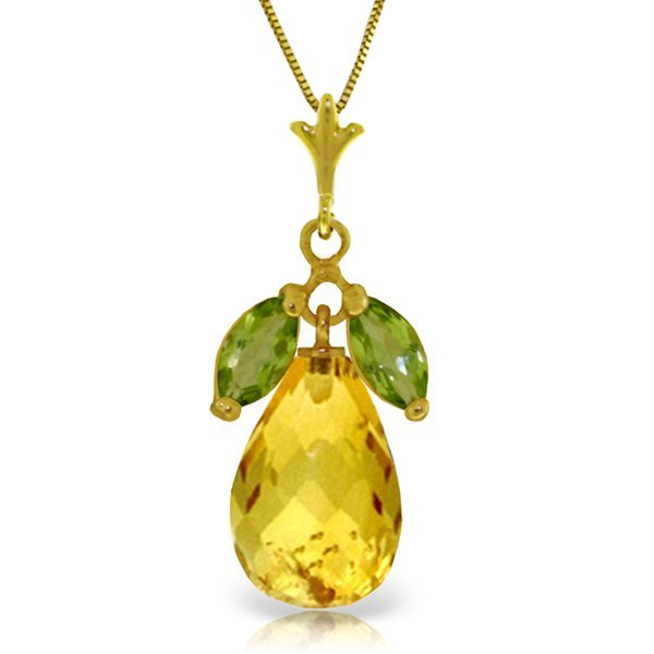 14k Gold 6.70ct Citrine and Peridot Necklace