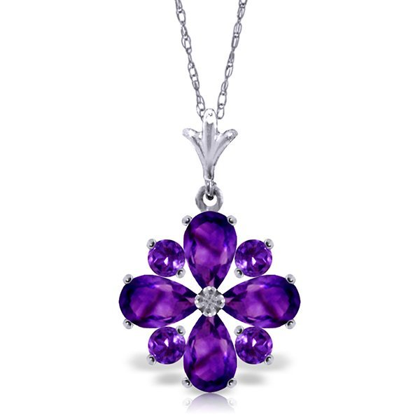 14k White Gold Amethyst Flower Necklace