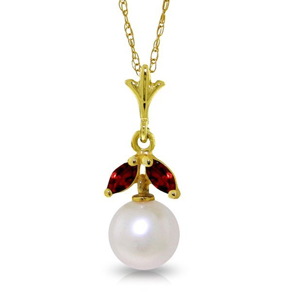 14k Solid Gold 0.20ct Garnet & Pearl Necklace