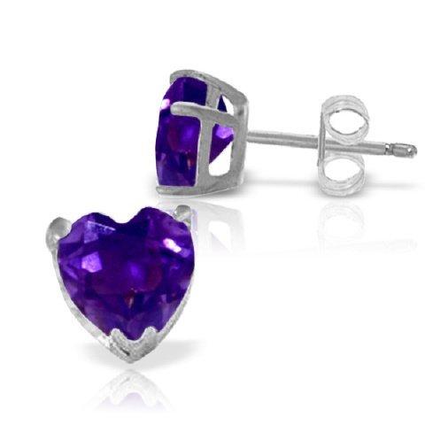14k WHITE GOLD 3.25ct Amethyst Heart Stud Earrings