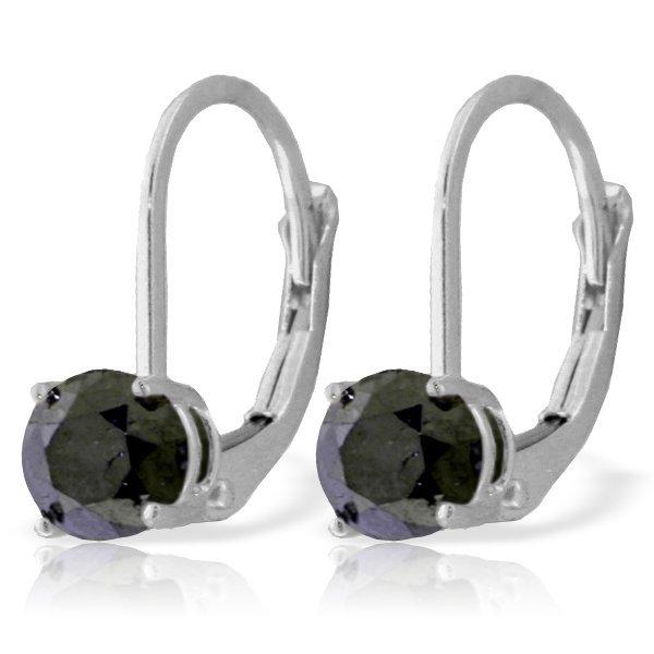 1.00ct Black Diamond Leverback Earrings in 14k WG