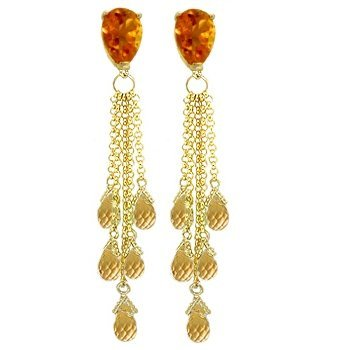 14k YELLOW GOLD 3.50ct & 12.00ct Citrine Drop Earrings