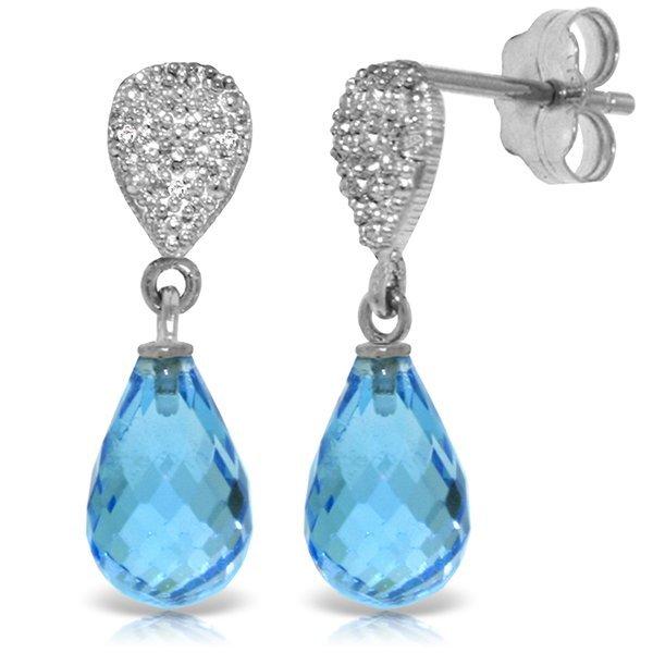 Blue Topaz with Diamond Drop Earrings in 14k White Gold