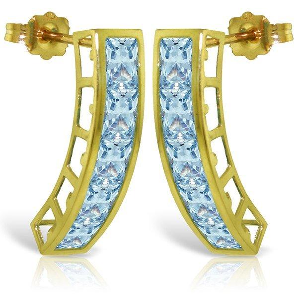 14k Solid Gold 4.50ct Aquamarine Earrings