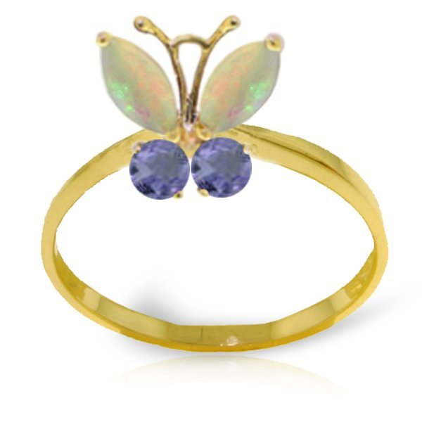 14k YG .50ct Opal and .20ct Tanzanite Butterfly Ring