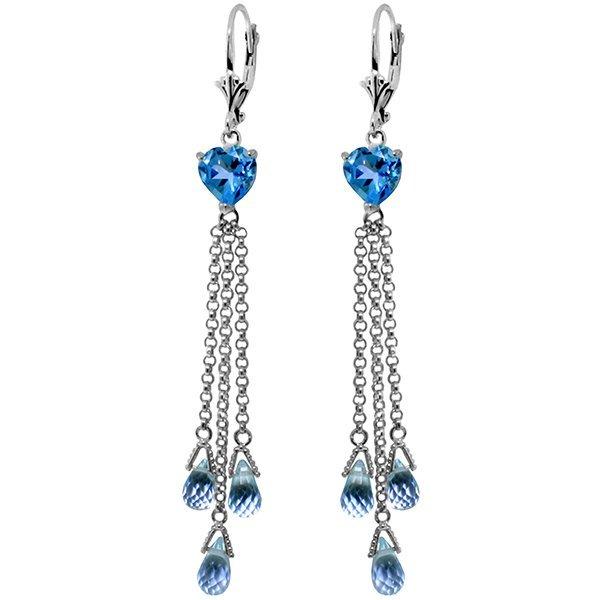 14K White Gold 6.9ct & 2.6ct Heart Blue Topaz Earring