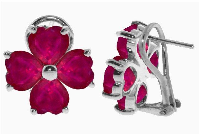 14k 7.20ct Ruby Heart French Clip Earrings
