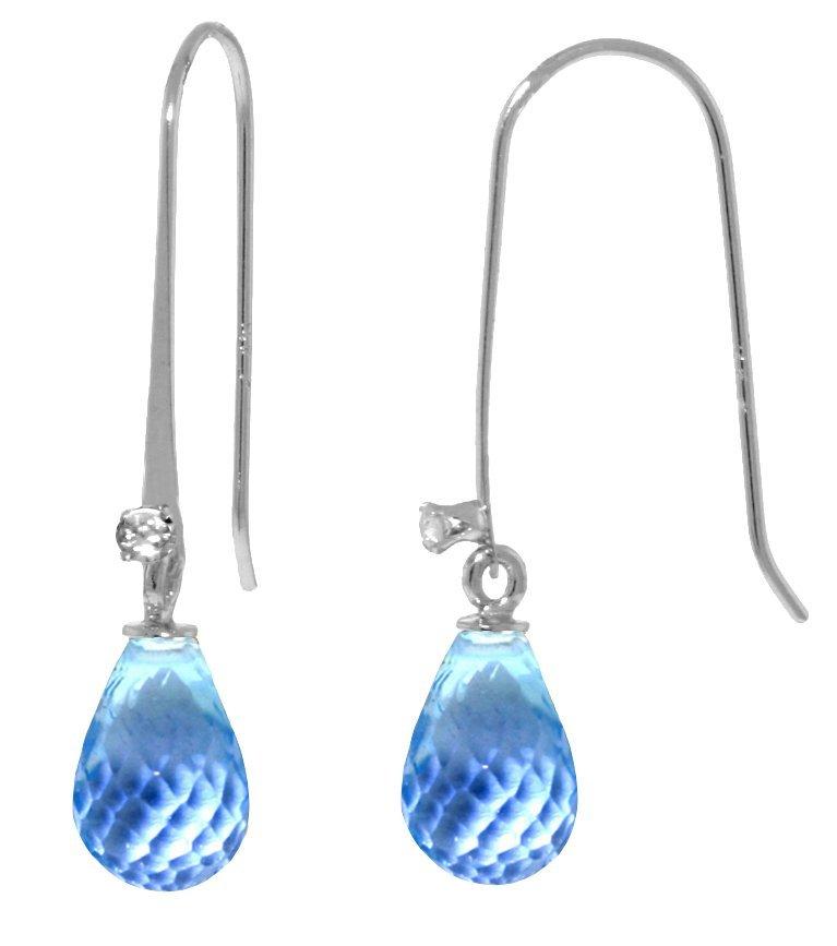 14K WG .03ct DIAMOND & 1.35ct  BLUE TOPAZ EARRING