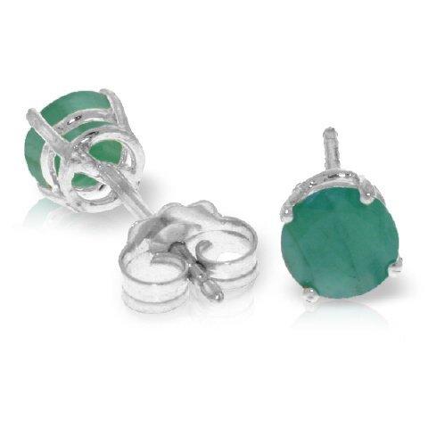 14k White Gold 0.95ct Emerald Stud Earrings