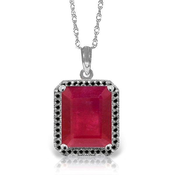 14k WG 7.25ct Ruby with Black Diamonds Necklace