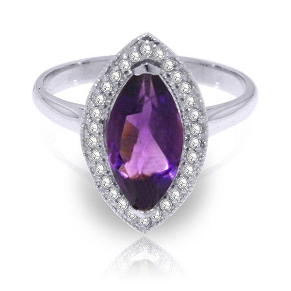 1.8ct 14k White Gold Ring Diamond Marquis Amethyst