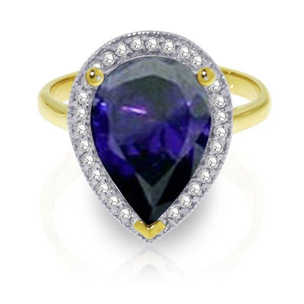 5.26ct 14k Solid  Gold Sapphire Diamond Ring