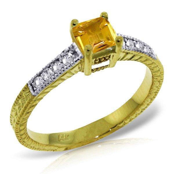 14k YG Citrine & Diamond Engagement Ring
