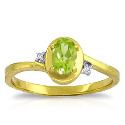 14k YELLOW GOLD 0.50ct Peridot Prong Set Ring