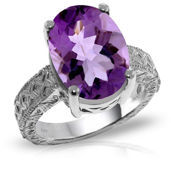 14K White Gold 7.50ct Oval Amethyst Ring