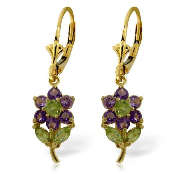 14k Solid Gold Peridot & Amethyst Earrings