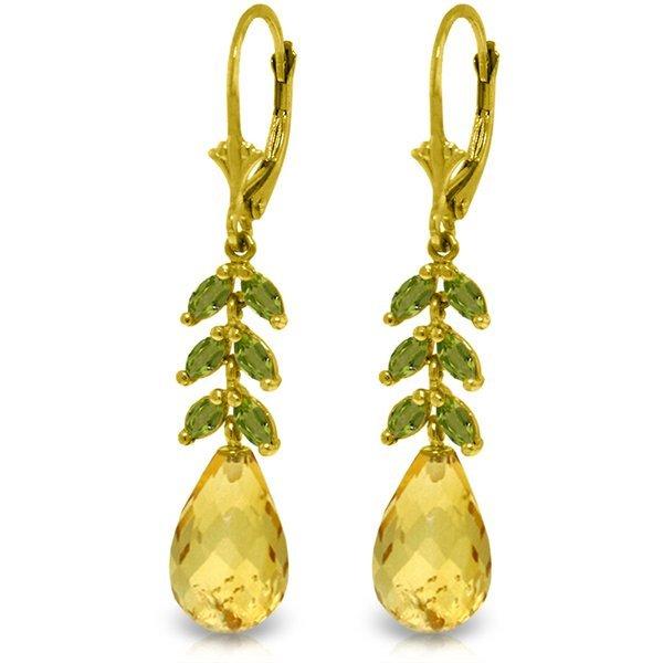 14k YG Citrine & Peridot Fancy Earrings