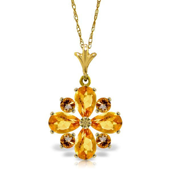 14k Yellow Gold Citrine Flower Necklace
