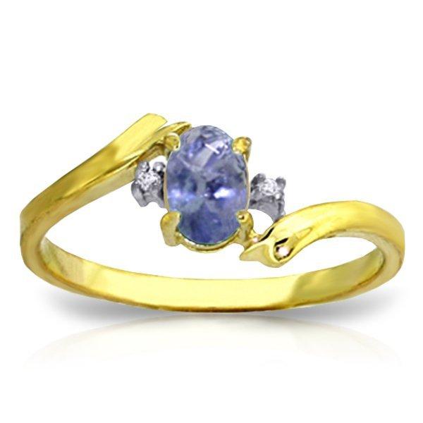 14K YG 0.01ct DIAMOND & 0.45ct OVAL TANZANITE RING