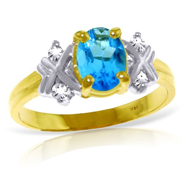 14k YG 0.85ct Blue Topaz & Diamond Ring