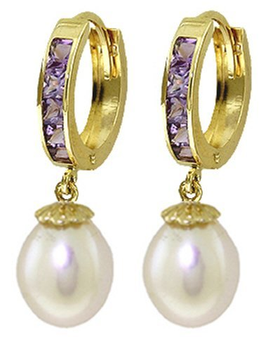 14K Solid Gold 8.00ct Pearl & 1.30ct Amethyst Earring