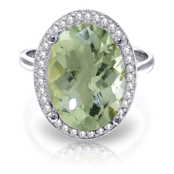 5.28ct 14k White Gold Green Amethyst Diamond Ring