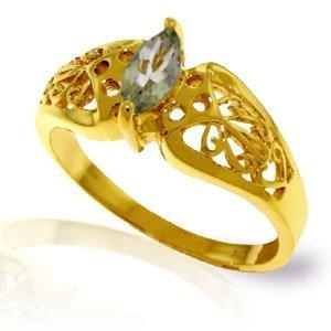 14K Solid Gold .20ct Green Amethyst FILIGREE Ring