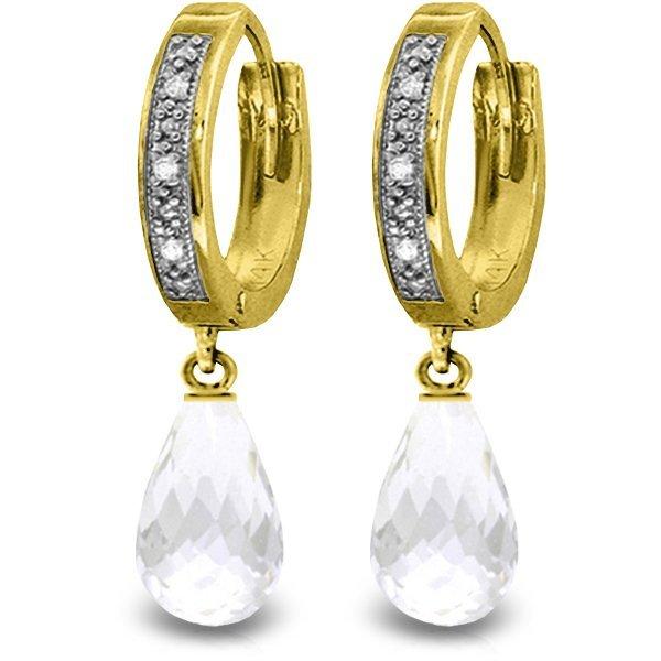 14K Solid Gold 4.5ct White Topaz & Diamond Earring