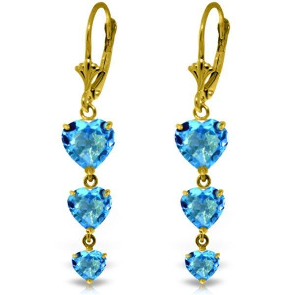 14k Solid Gold Blue Topaz Heart Dangle Earrings