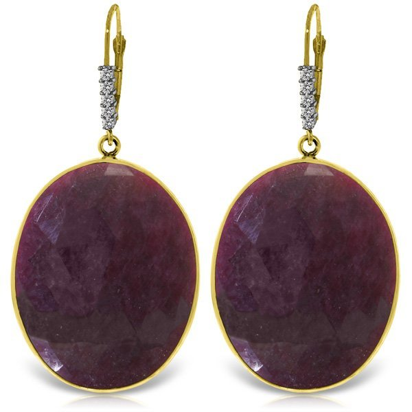 14K Solid Gold 39.0ct Ruby & Diamond Earring