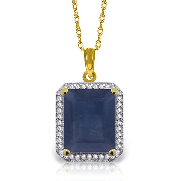 6.6ct 14k Solid  Gold Necklace Diamond Sapphire