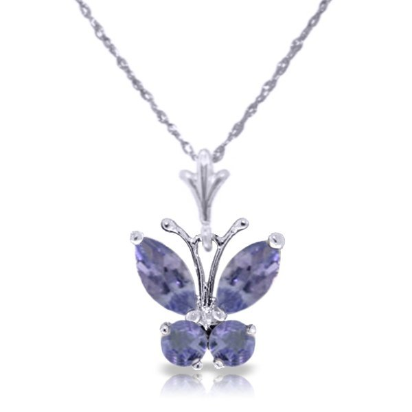 14k WG .40ct & .20ct Tanzanite Butterfly Necklace