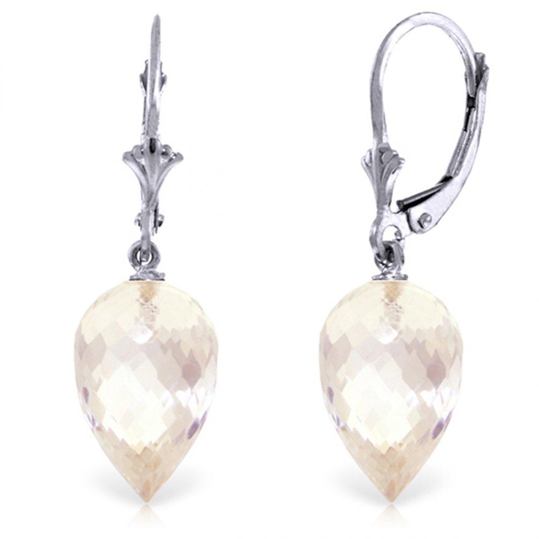 14k WG 24.50 White Topaz Briolette Earrings