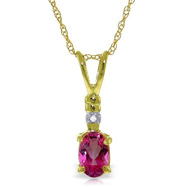 14k YG 0.45ct Oval Pink Topaz & Diamond Necklace