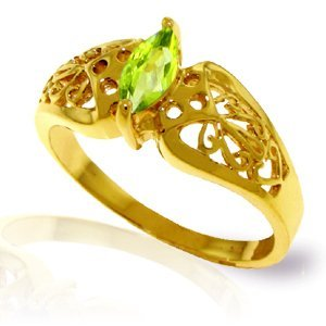 14K Solid Gold .20ct Peridot FILIGREE Ring