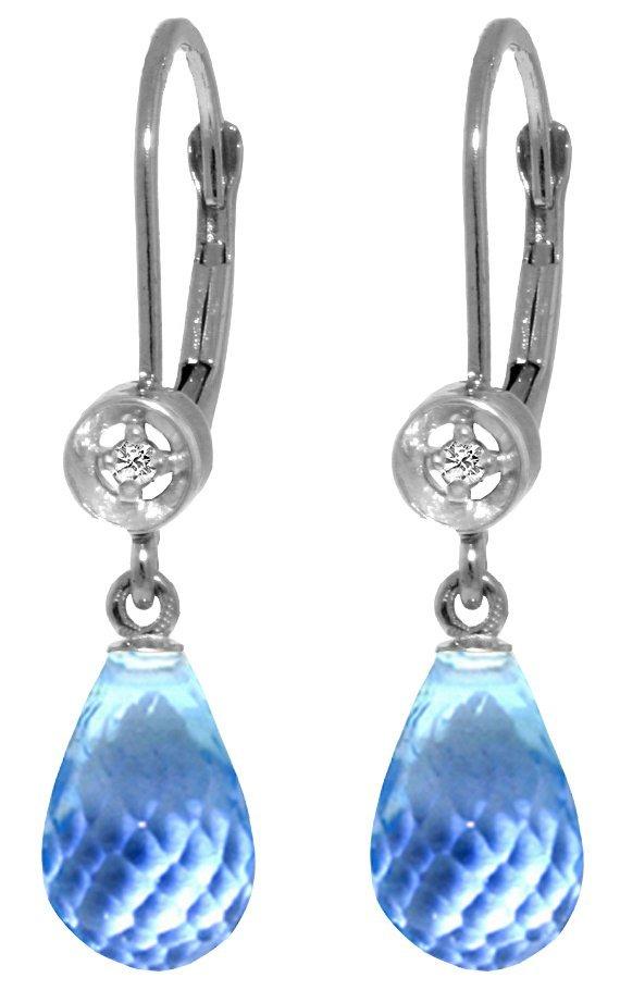 14k WG 4.50ct  Blue Topaz with Diamond Earrings
