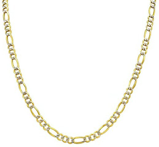 """24"""" 14k Solid Gold Pave Figaro Chain 2.25mm wide"""