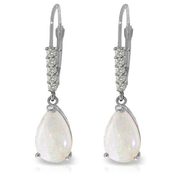 14k White Gold 1.55ct Opal & Diamond Leverback Earrings