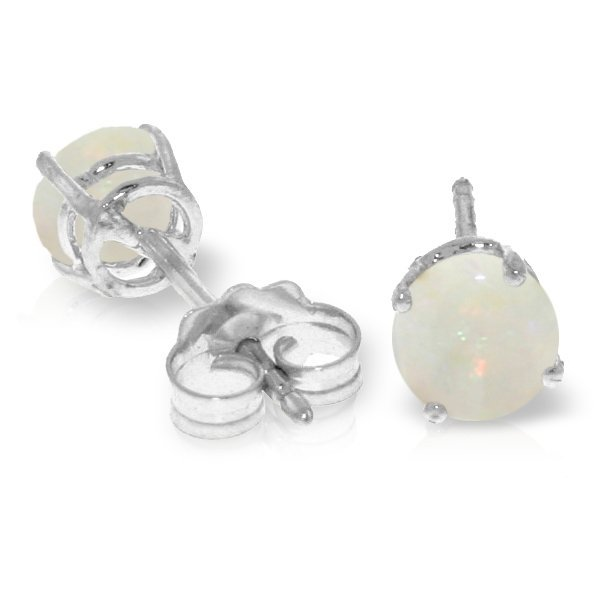14k White Gold 0.70ct Opal Stud Earrings