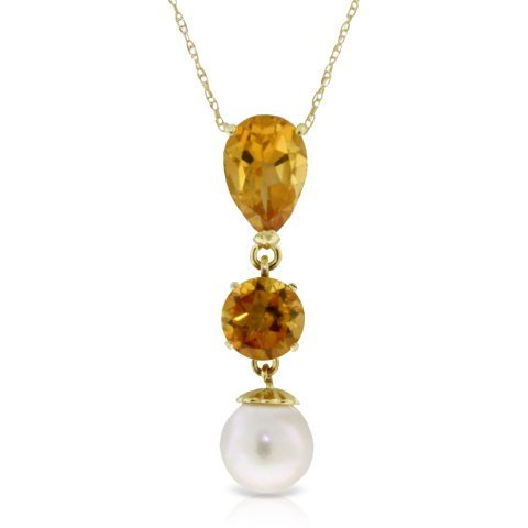 14K. SOLID GOLD NECKLACE WITH CITRINES & PEARL