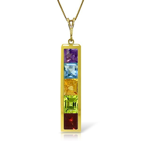 14k Solid Gold Multi Gemstone Necklace