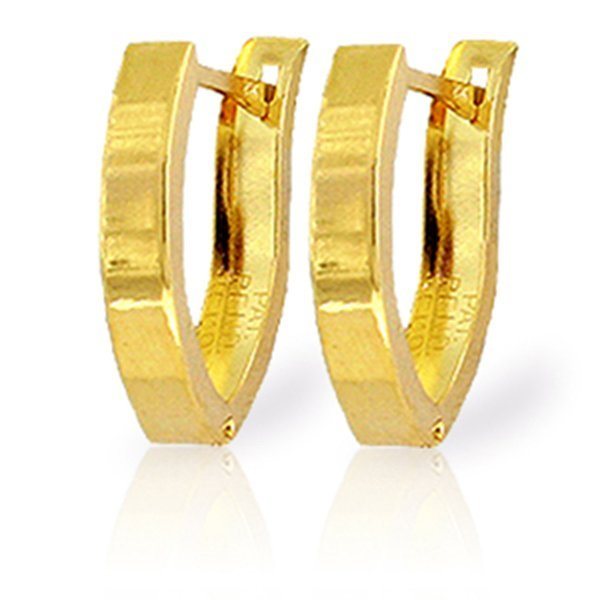 14K 1.20gr YELLOW GOLD OVAL HOOP HUGGIE EARRING