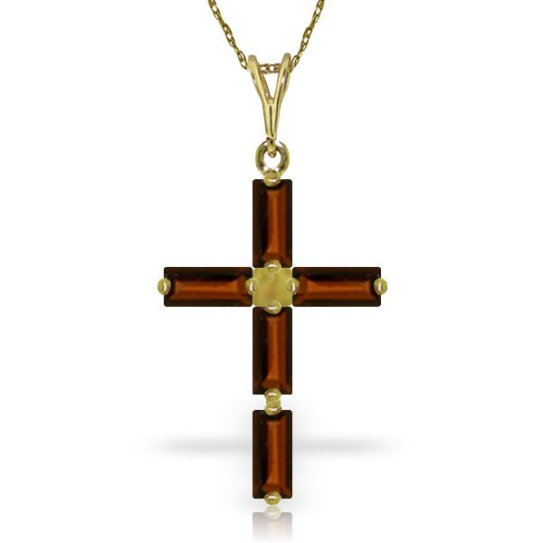 14k Solid Gold 1.15ct Garnet Cross Necklace