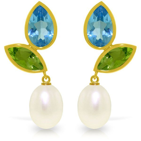 14k Alluring Blue Topaz, Peridot and Pearl Earrings