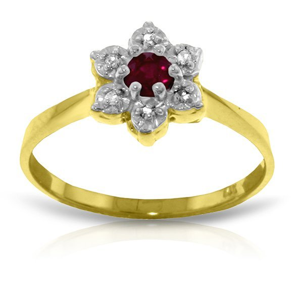 14k Solid Gold 0.20ct Ruby & Diamond Ring
