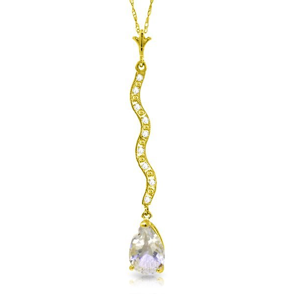 14K Solid Gold 1.75ct White Topaz & Diamond Necklace